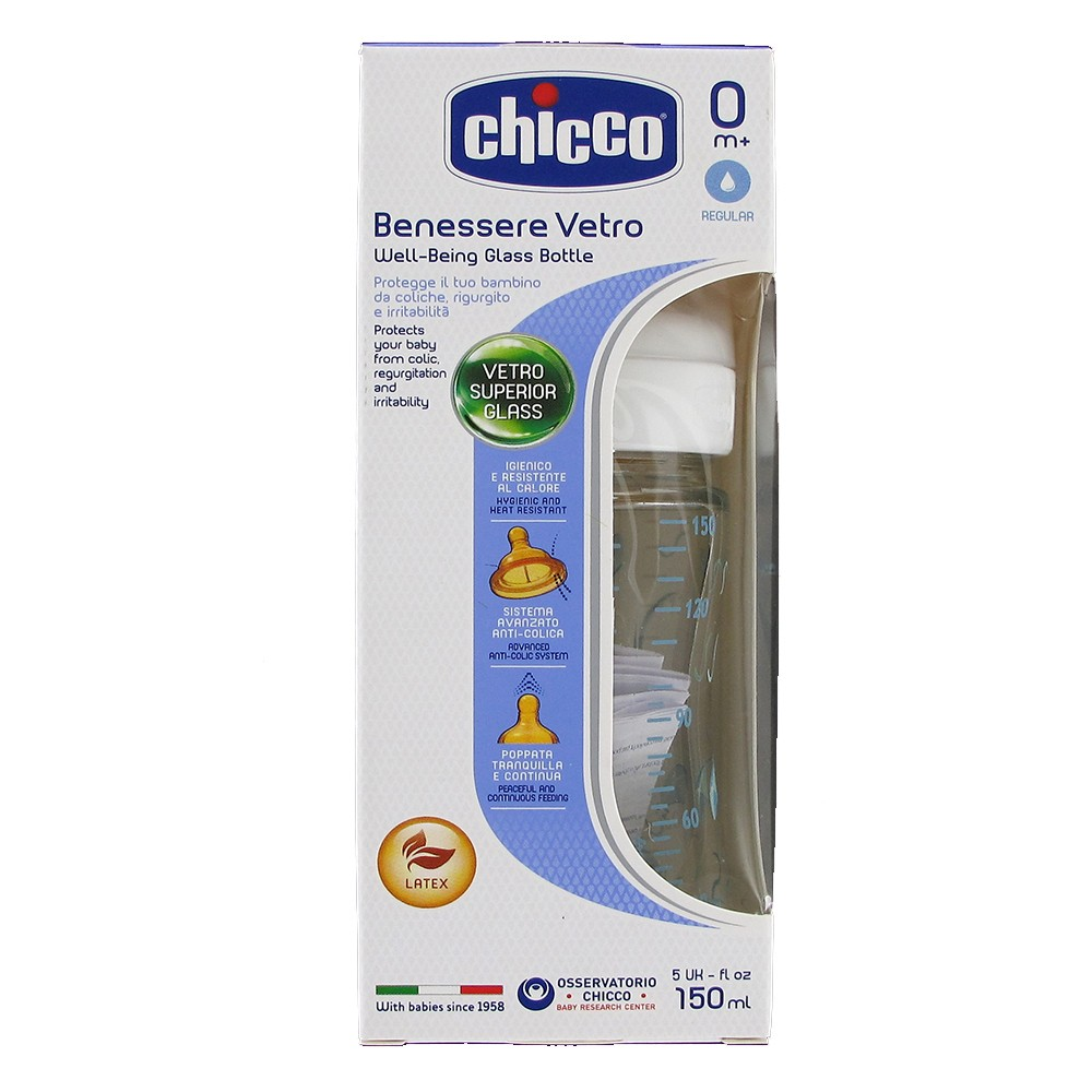 929abde81 Chicco Well-Being glass bottle 150ml BLUE 0m