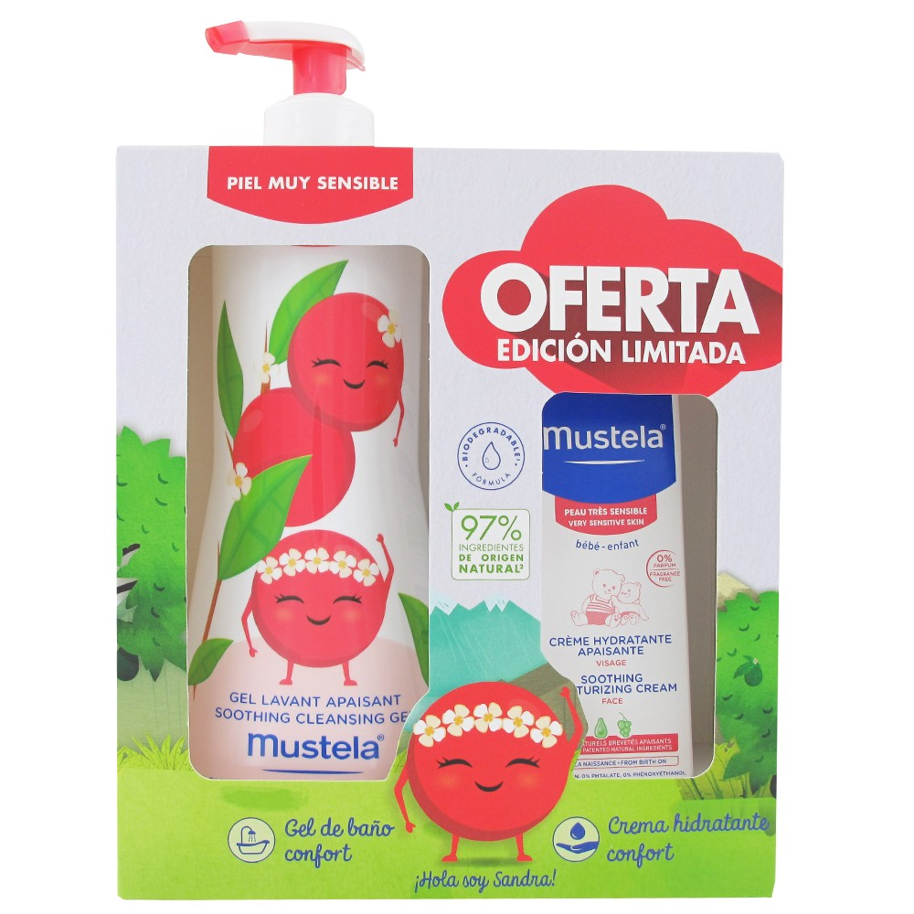Mustela Gel de baño confort 500ml+crema facial Confort 40ml