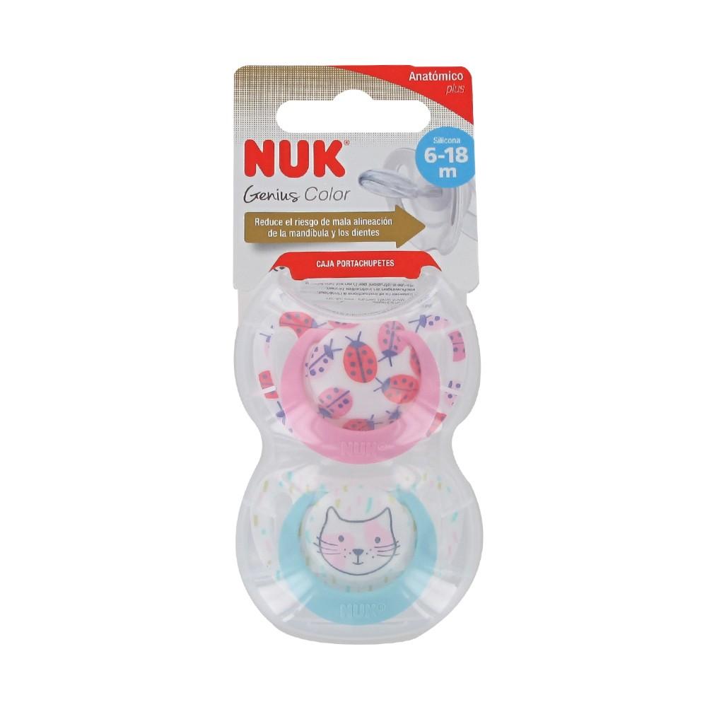 6-18 meses NUK Genius Juego de 2 chupetes con cadena para chupete 2 chupetes de silicona y 1 cadena para chupete color rosa