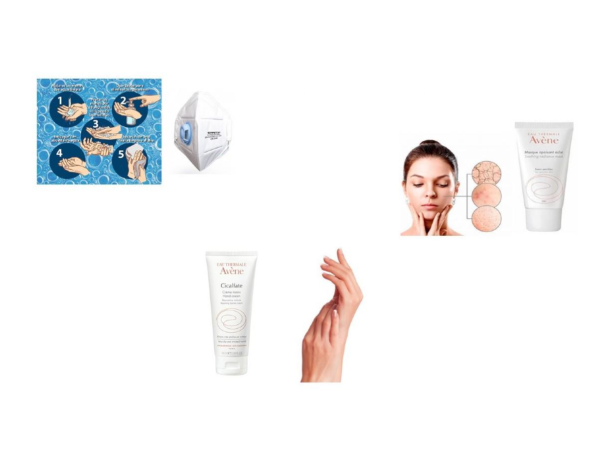 Reparar la piel por uso de gel hidroalcohólico y mascarilla
